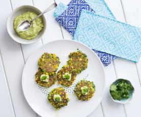Corn and coriander fritters with avocado tahini