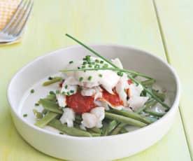 Ryba na parze z sosem pomidorowym