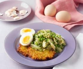 Wiener Kochsalat mit Erbsen, Rösti und Ei