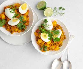 Kartoffelcurry mit Ei