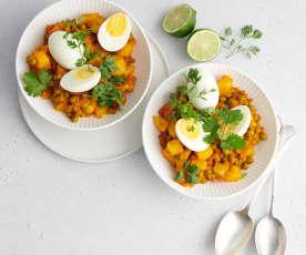 Curry de pommes de terre et œuf
