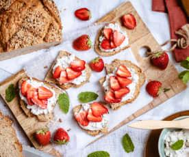 Bruschettas fraise et ricotta