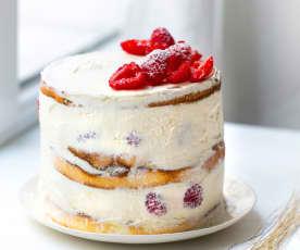 Naked cake, chantilly et framboises