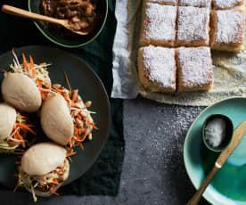 Piquenique: Pães a vapor com frango asiático e bolo de coco molhadinho