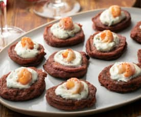 Gluten-free Beetroot Blinis with Horseradish Cream and Crayfish