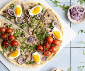 Tarte salée au thon, œufs et câpres