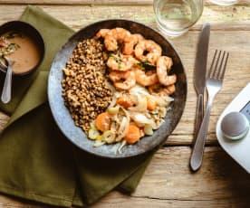 Buddha bowl lentilles, petit épeautre et crevettes