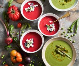 Duas sopas frias: Espargos e ervilhas & beterraba e tomate