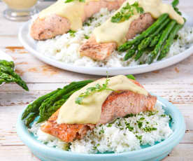 Salmon with Lemon Hollandaise, Asparagus and Rice