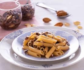 Pasta risottata con pesto di olive e mandorle