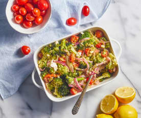 Greek Broccoli with Arugula Pesto and Roasted Lemon