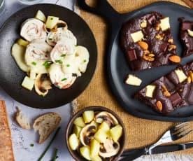 Ballotine de poulet, pommes de terre vapeur et galette au chocolat