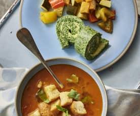 Sopa de pan y tomate. Tortilla de espinacas y Ratatouille al vapor.