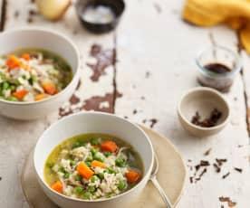 Canja com cenoura e ervilhas