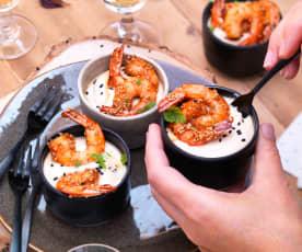 Verrine de houmous au fromage blanc et crevettes