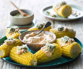 Steamed corn with chipotle mayonnaise and coriander salsa