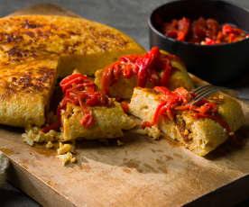 Tortilla de coliflor y chorizo con piquillos