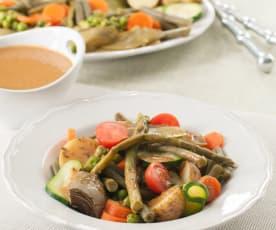 Verduras de primavera al vapor con aliño de tahini