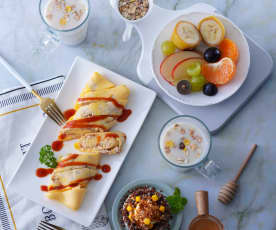 鮪魚蛋餅卷&玉米藜麥馬鈴薯沙拉、綜合燕麥奶