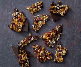 Chocolate and anise fruit bark