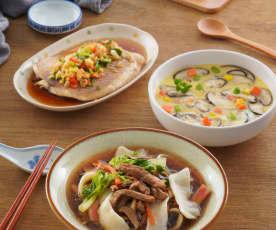 豬肉什錦麵、蔬菜蒸蛋&蒜味鯛魚