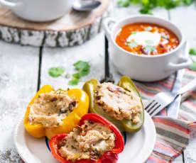 Zupa meksykańska i faszerowane papryki