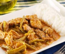 Judías verdes al curry con ternera y arroz blanco