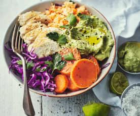 Menu light - Bowl d'hiver au poulet et à la patate douce