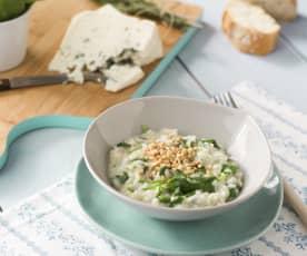 Risotto de queso azul y espinacas