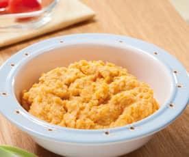 Paprika-Tomaten-Reis-Brei mit Schwein
