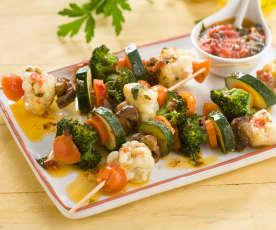 Brochetas de verduras con salsa vierge