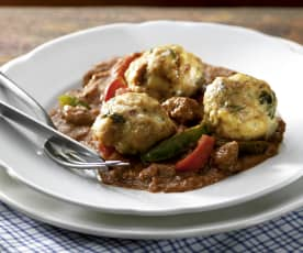 Beef goulash with bread dumplings