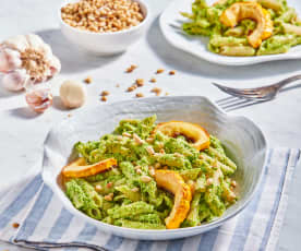 Broccoli Rabe Pesto with Pasta and Roasted Squash