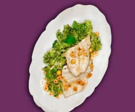 Nuss-Forelle mit Brokkoli-Stampf