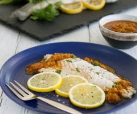Spicy sea bass (samke harra)