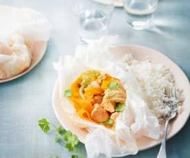 Papillotes de dinde au curry et chou chinois