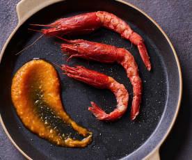 Gamberi rossi con salsa alla papaya sottovuoto