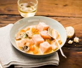 Blanquette de poisson, sauce au potimarron