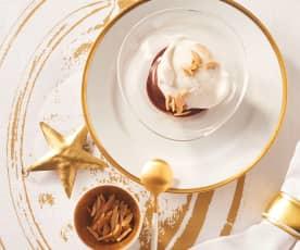 Birne-Helene-Eis mit Mandelstiften