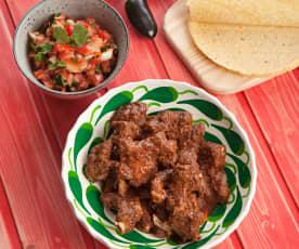 Żeberka wieprzowe z meksykańską salsą pomidorową