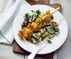 Shrimps-Lachs-Spiesse mit Spinat-Kartoffeln