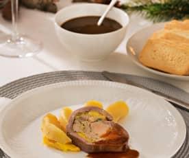 Magret de pato con foie, manzanas y salsa de Pedro Ximénez