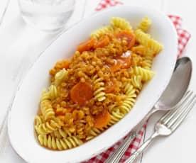 Rote Linsen-Möhren-Sauce
