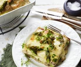Frische Lasagne mit Spargel und Pilzen