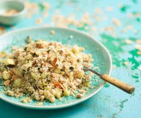 Salada de quinoa, curgete e feijão-frade
