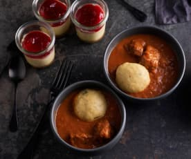 Beef Goulash with Bread Dumplings; Individual Cheesecakes