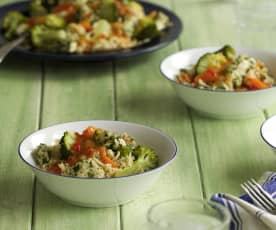 Asian-style Chicken, Rice and Vegetables