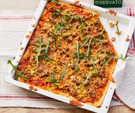 Pizza mit Zucchini und Fenchelhack