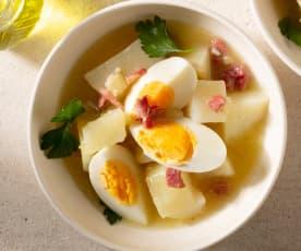 Patatas con huevos en salsa verde