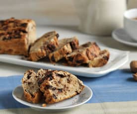 Pan de mantequilla con chocolate y nueces